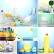 Collage of washing dishes, close-up...