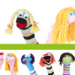 Collage of different funny sock puppets...