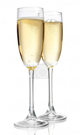 Glasses of champagne, isolated on white