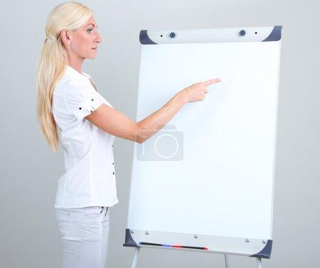 Businesswoman presenting on flipchart in office