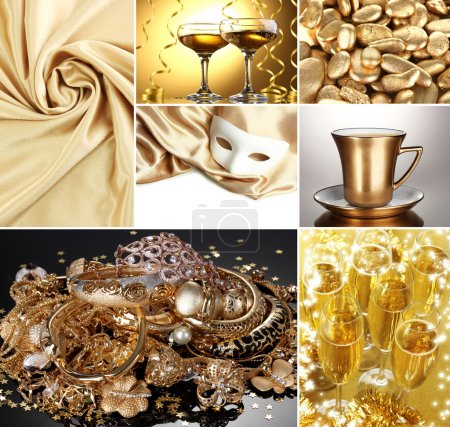 Collage of photos in gold colors