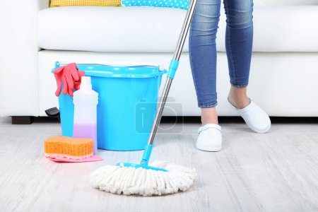 Photo for Cleaning floor in room close-up - Royalty Free Image