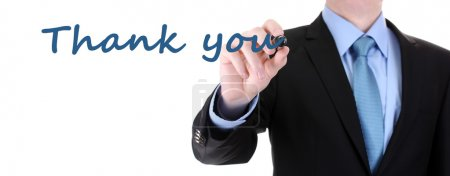 Man writing Thank you on transparent board