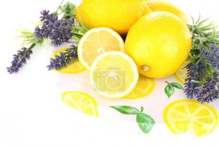 Photo for Still life with fresh lemons and lavender, isolated on white - Royalty Free Image