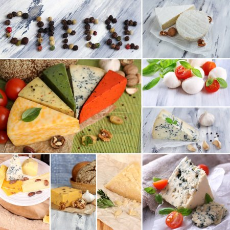 Photo for Collage of delicious cheeses - Royalty Free Image