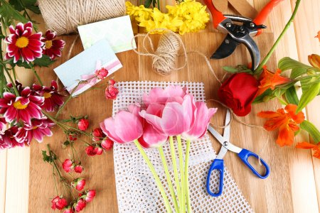 Photo pour Lieu de travail du fleuriste. Photo conceptuelle - image libre de droit