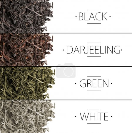 Collage of aromatic dry tea isolated on white...