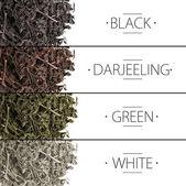 Koláž aromatických suchého čaje izolovaných na bílém