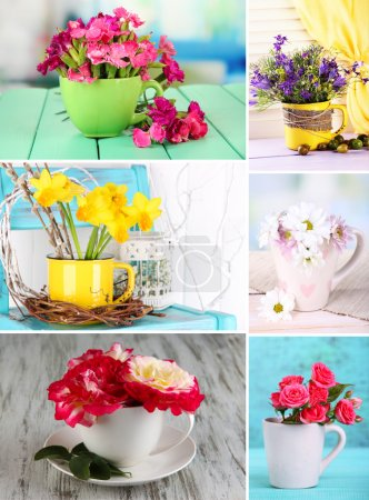 Collage of cups with flowers