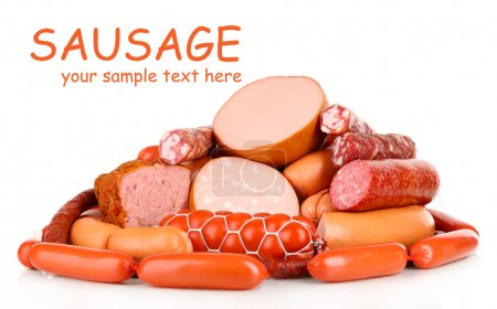 Lot of different sausages isolated on white...