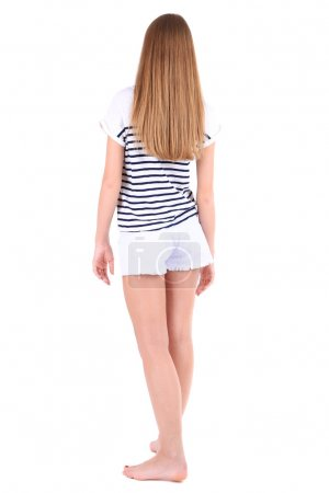 Beautiful young girl shorts and t-shirt isolated on white