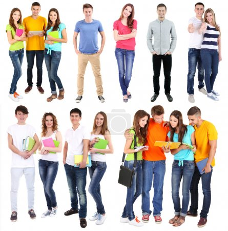 Photo for Collage of young students isolated on white - Royalty Free Image