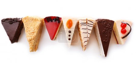 Photo for Assortment of pieces of cake, isolated on white - Royalty Free Image