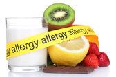 Alergenních potravin izolovaných na bílém