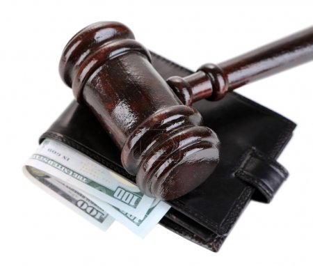 Gavel and money in wallet isolated on white...