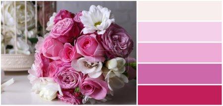 Photo pour Nature morte avec bouquet de mariage. palette de couleurs avec des échantillons gratuits - image libre de droit