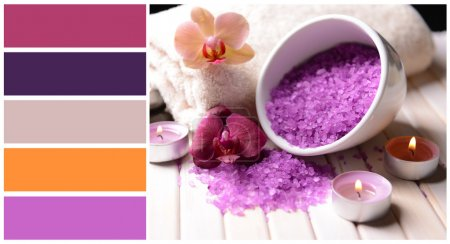Still life with beautiful blooming orchid flower, towel and bowl with sea salt. Color palette with complimentary swatches