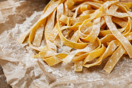 Photo for Still life with raw homemade pasta and ingredients for pasta - Royalty Free Image