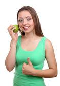 Krásná dívka s zelené jablko