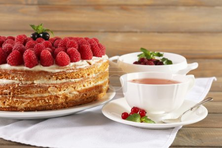 Photo for Tasty cake with fresh berries on wooden table - Royalty Free Image