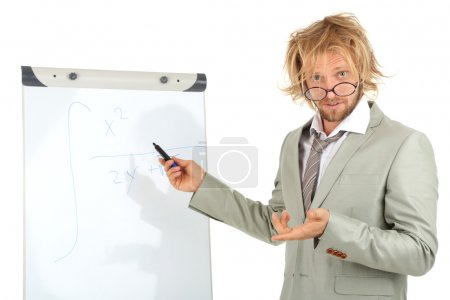 Funny doctor with board