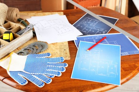 Working tools on table