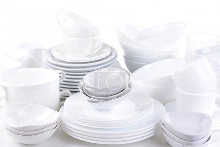 Set of white dishes