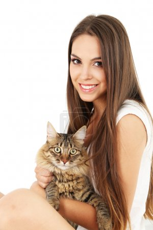 Young woman with cat