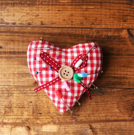 Fabric heart with color pins