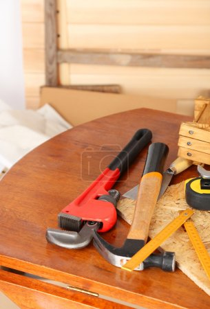 Working tools on table, in workshop