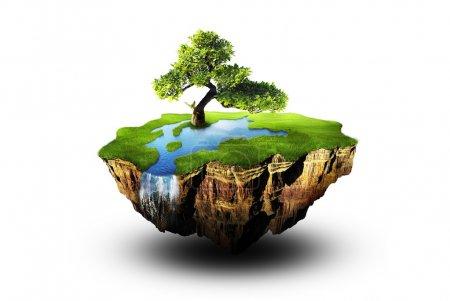 Photo pour Un lopin de terre dans l'air - image libre de droit