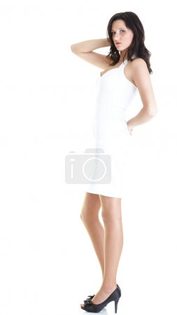 Portrait attractive young woman standing isolated white backgrou