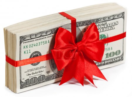 Photo for Pack of dollars tied with ribbon isolated on white background - Royalty Free Image