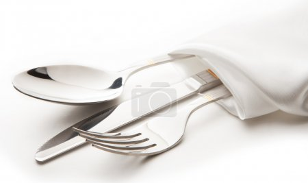 Cutlery - knife, spoon and fork tied ribbon...