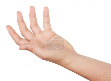 Man's hand isolated on white background...