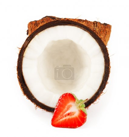 Strawberry in half of coconut