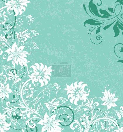 Illustration for Aquamarine white floral swirls wedding invitation - Royalty Free Image