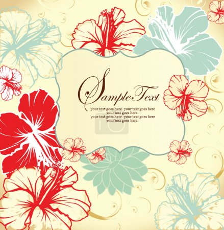 Set of four floral invitation card