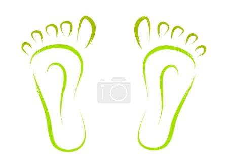 Illustration pour Croquis des traces abstraites des pieds vecteur - image libre de droit