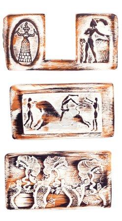 Photo pour Fresques égyptiennes sur le fond blanc isolé - image libre de droit