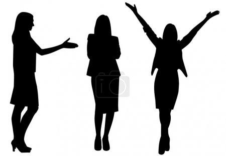 Illustration pour Femme d'affaires silhouette vecteur illustration isolé - image libre de droit