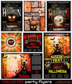 Halloween Horror Party flyer with a lot of themed elements and blood drops bats pumpkins and so over