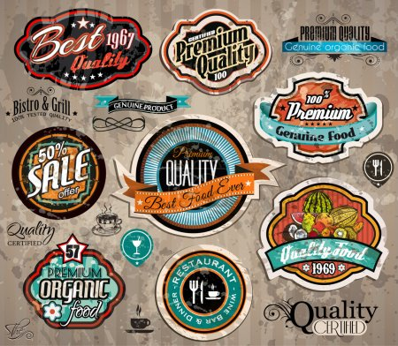 Illustration for Set of Premium Quality Vintage Label with high contrast colors and water drops. Old style and distressed look, - Royalty Free Image