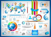 Infographic elements set with paper tags technology icons cloud computing graphs paper tags arrows world map and so on Ideal for statistic data display