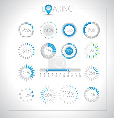 Photo for Set of Loading design elements - a lot of different styles with space for percentage - Royalty Free Image