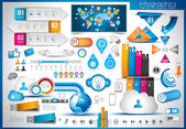 Infographic elements - set of paper tags technology icons cloud cmputing graphs paper tags arrows world map and so on Ideal for statistic data display