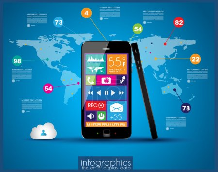 Modern Infographic with a touch screen smartphone