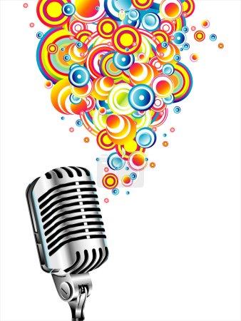 Illustration pour Un microphone magique chantant des bulles colorées - image libre de droit