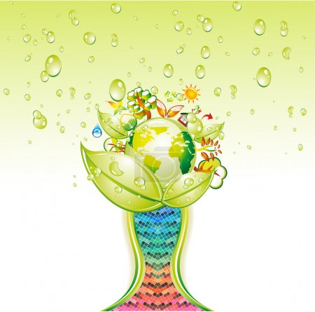 Illustration for Conceptual Green Environment Green World Cup - Royalty Free Image