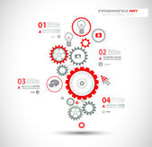Infographic design template with gear chain.